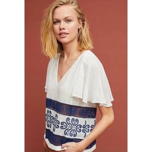 [ANTHROPOLOGIE] Blue & White Embroidered Blouse